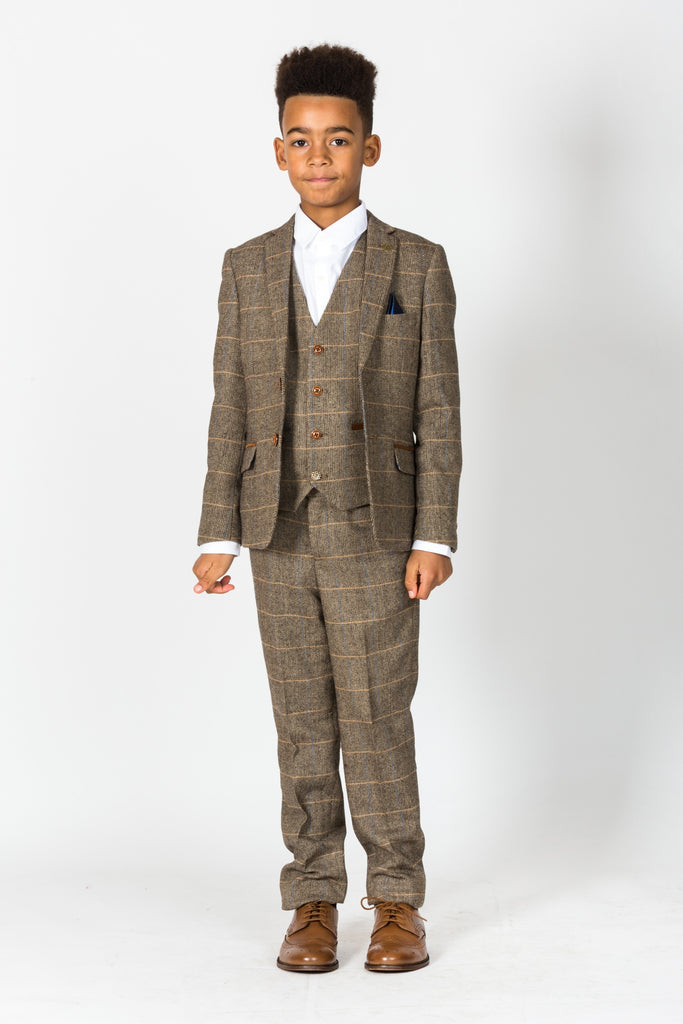 Ted Blake Kids 3 Piece Check Tweed Suit By Marc Darcy