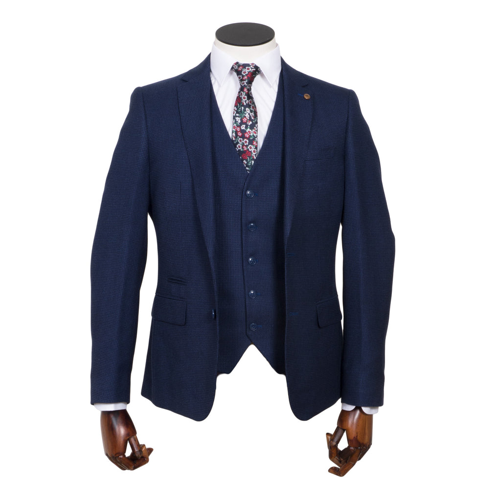Tiger Tapered Fit Navy Suit by 6th Sense