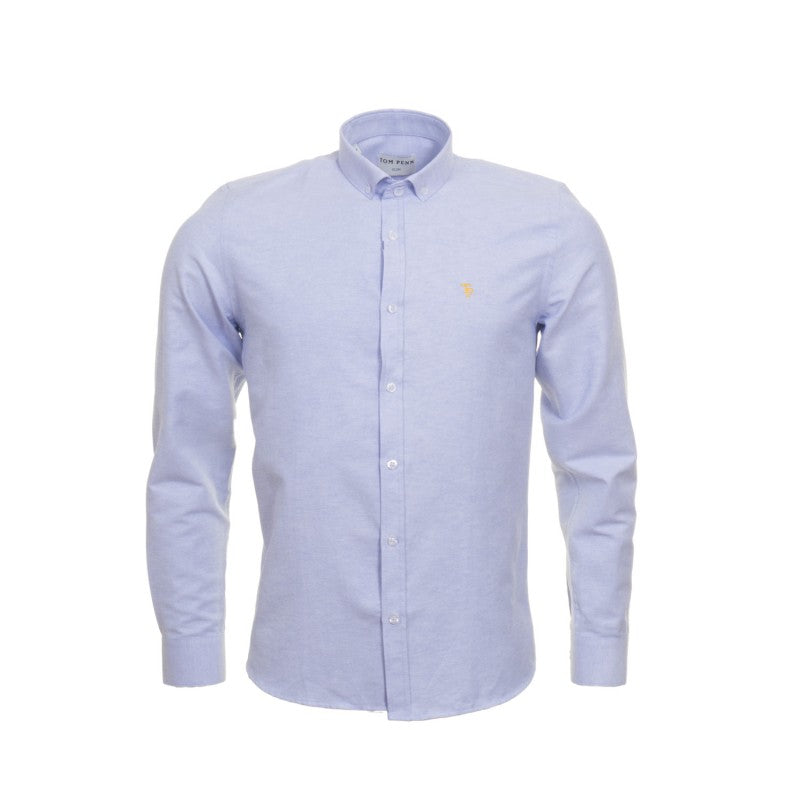 Solid Blue Button Down Collar by Tom Penn