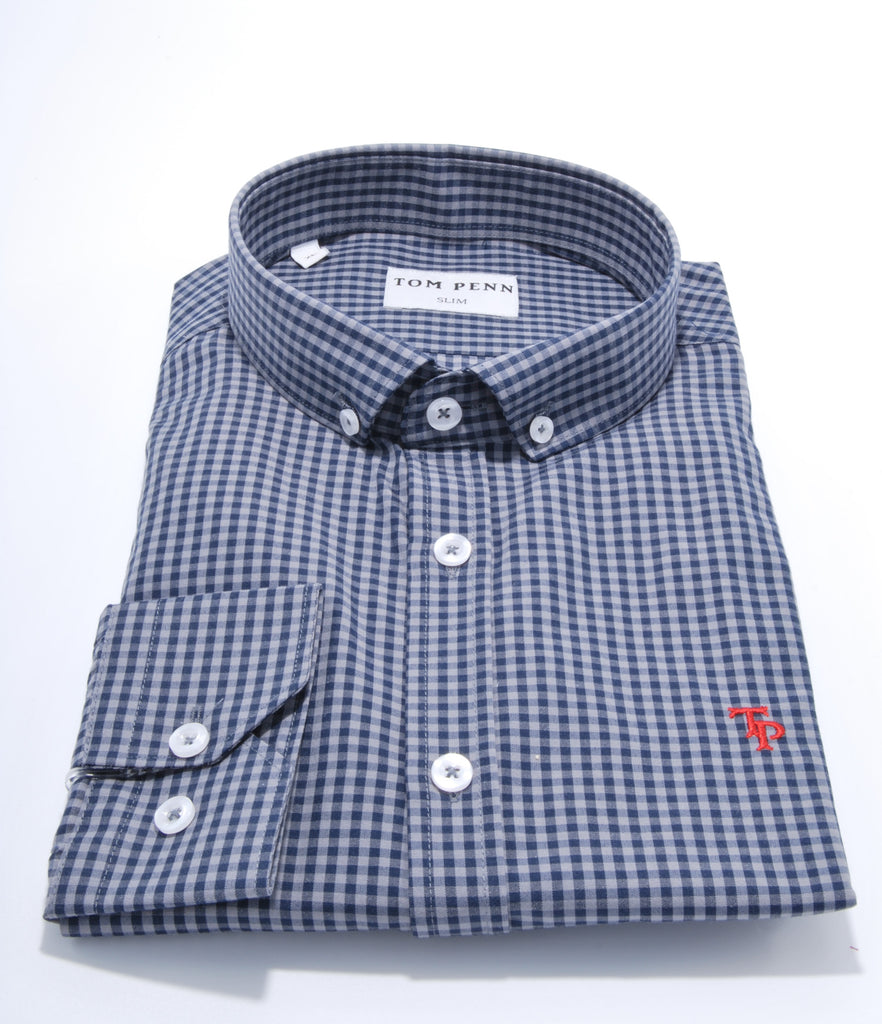 Slim Fit Grey Check Shirt by Tom Penn