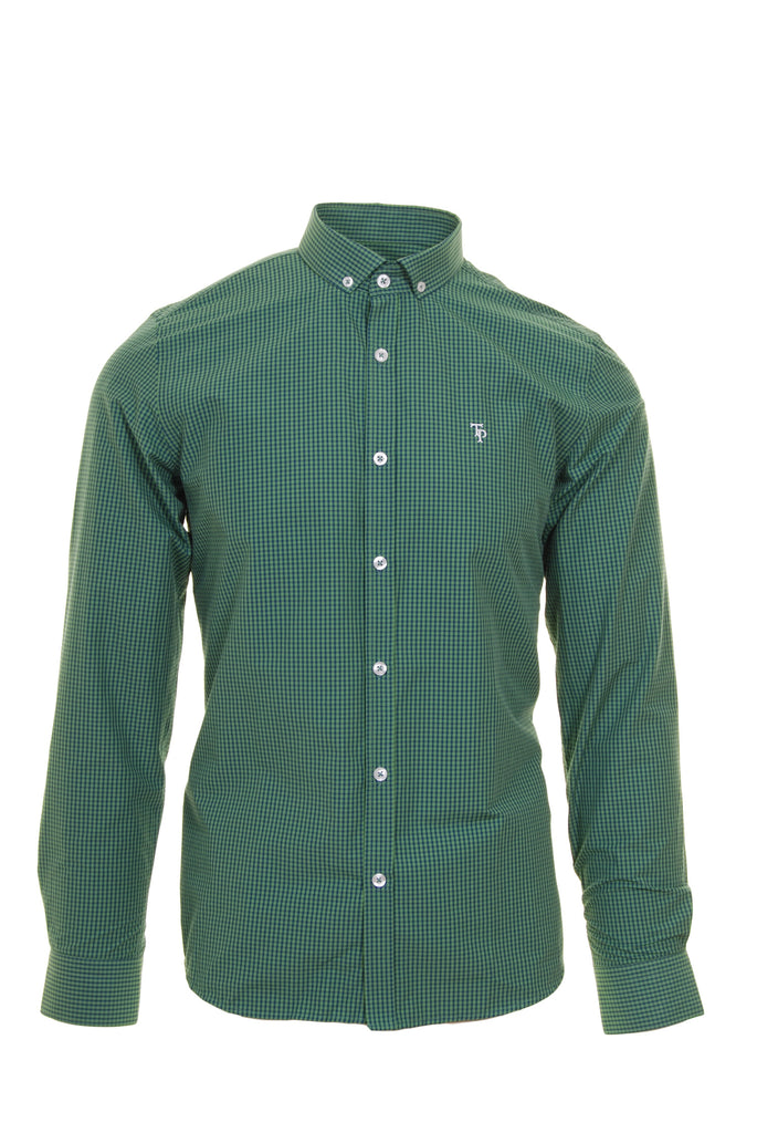 Green & Navy Check Slim Fit Shirt by Tom Penn
