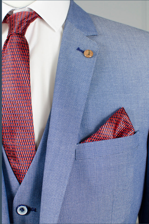 Trevor 3 Piece Blue Check Suit by 6th Sense