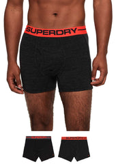 Superdry Sports Two pack Black , Black Marl boxer shorts