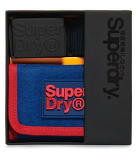 Superdry Montana Navy Marl Wallet and Belt Gift Set