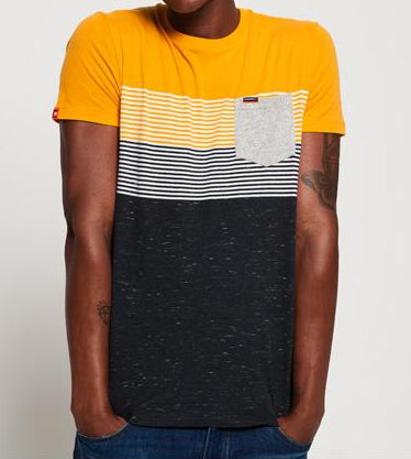 Miami Stripe Pocket Ochre Short Sleeve Tee