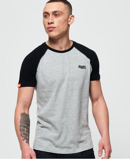 Pumice Grey and Black Short Sleeve Baseball Tee