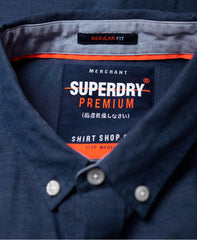 Superdry Premium Oxford University Short Sleeve French Blue Shirt. M40114AT@BTN