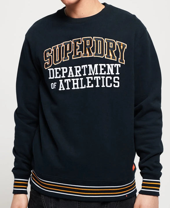 Navy College Boxy Fit Crew Sweat