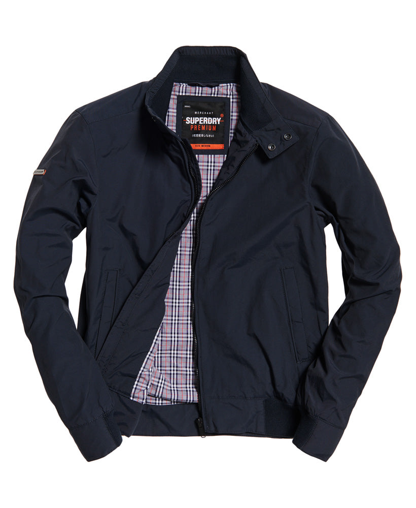 Superdry men's Montauk Harrington washed navy jacket.