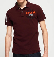 Superstate Shadow Buck Burgundy Marl Short Sleeve Polo by Superdry