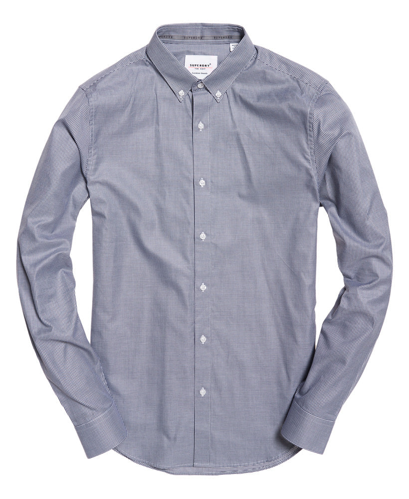 Superdry Edit button down long sleeve shirt Navy Check