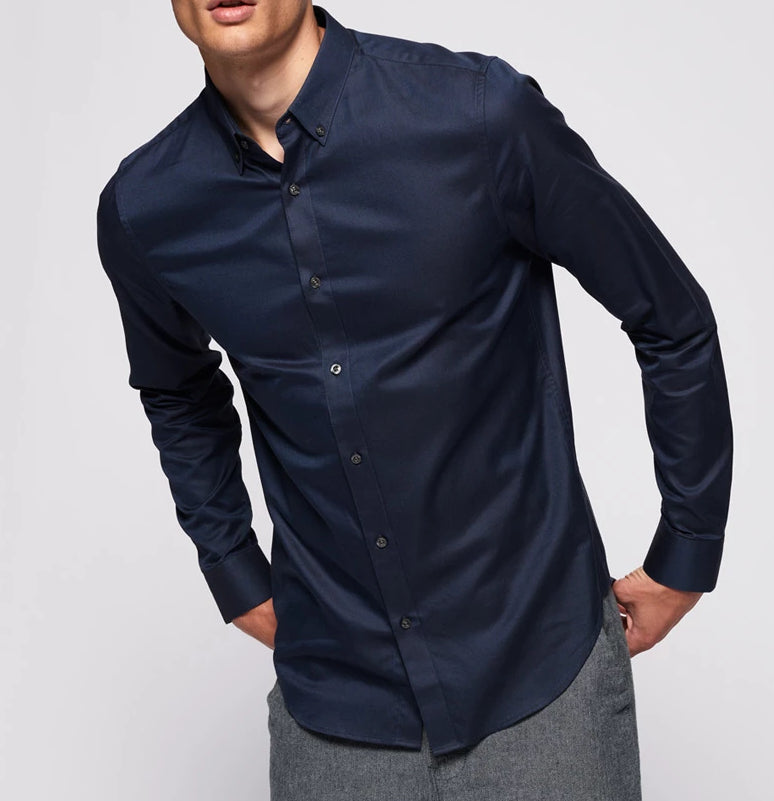 Superdry Edit button down long sleeve shirt in Navy