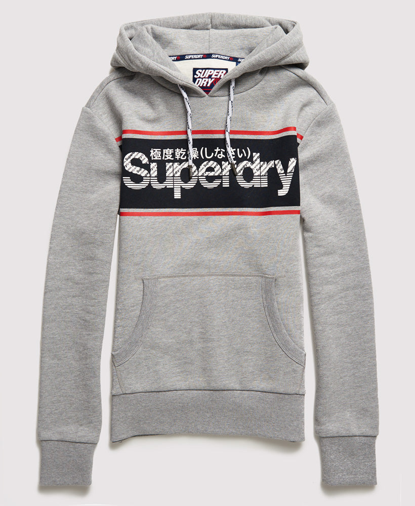 Retro Sport Grey Marl over the head Hoodie by Superdry