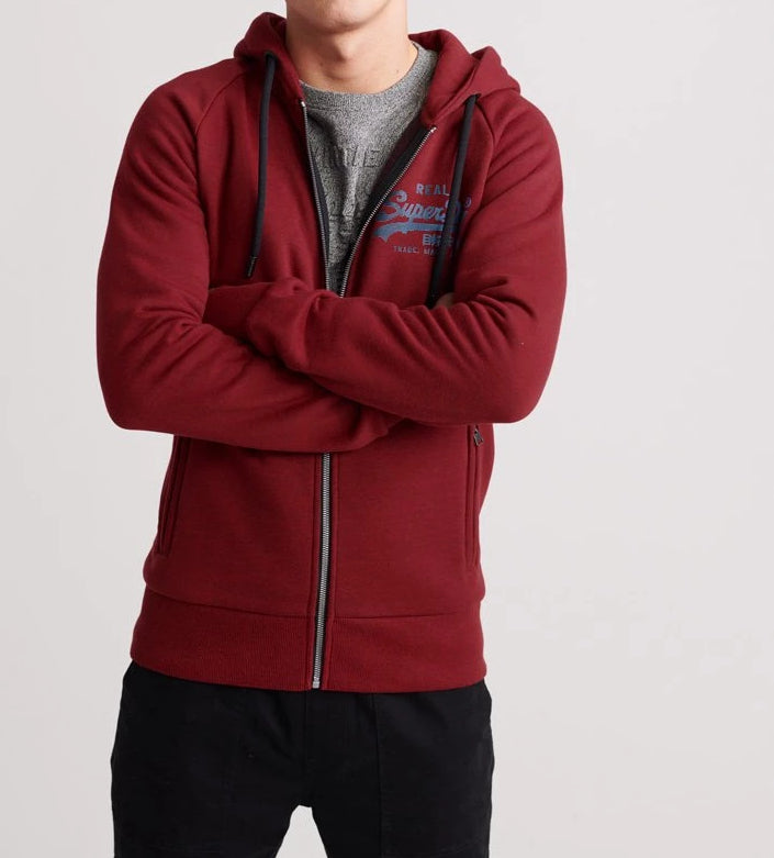 Vin Logo Monochrome Zip Red/Black Hoodie by Superdry