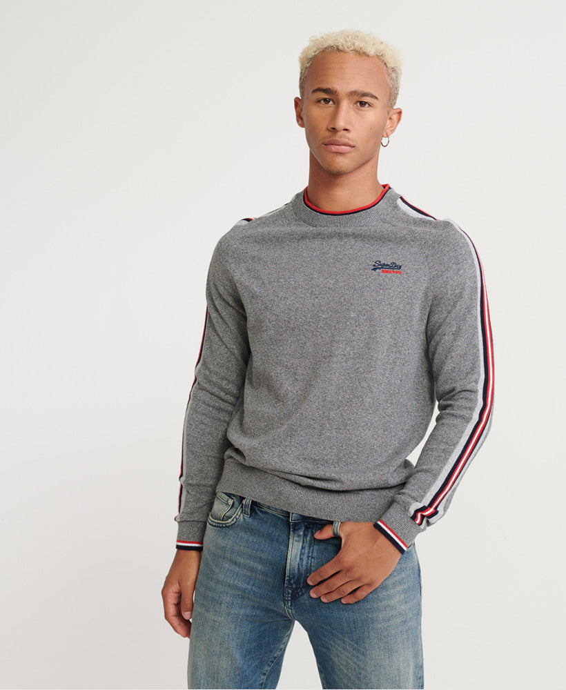 Athletic Stripe Graphite Grey Crew Jumper