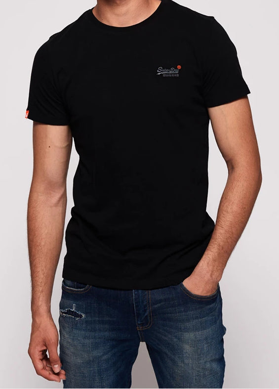 Superdry Orange Label Vintage Emb Black Short Sleeve Tee