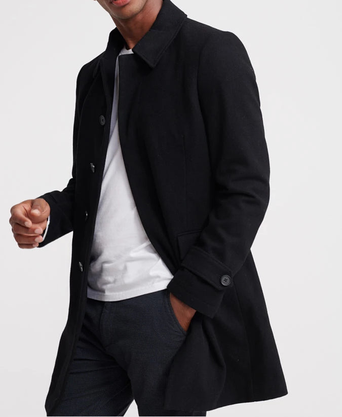 Edit Wool Car Coat Black by Superdry