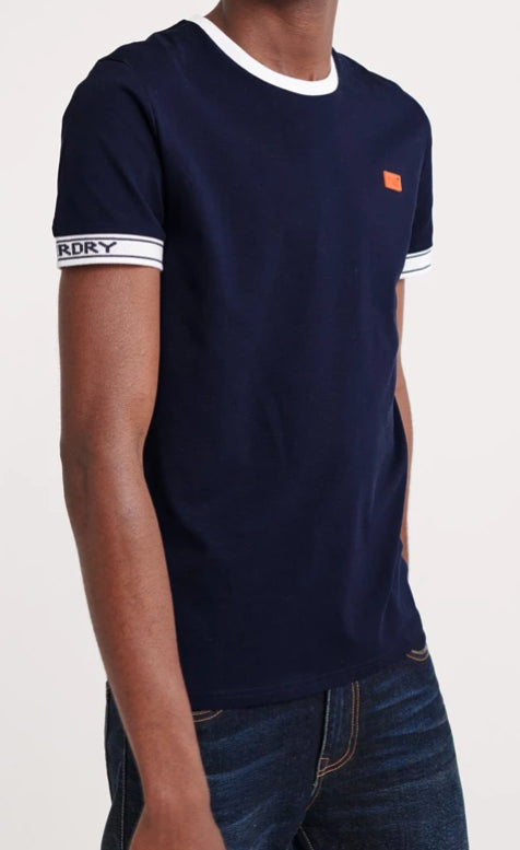 Pique Cali Ringer Rich Navy Orange Label Tee by Superdry