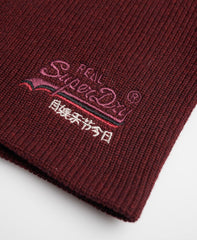 OL Buck Burgundy Marl Beanie by Superdry
