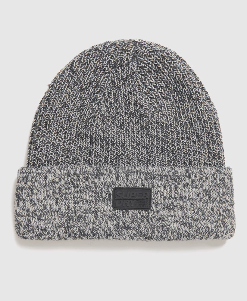Stockholm Black Grit Beanie Hat by Superdry