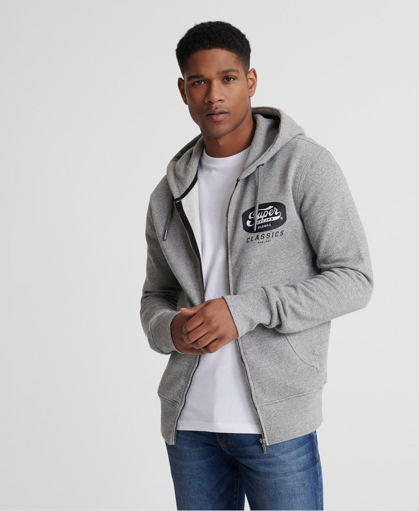 Men's Mono LC Grey Grit Zip hoodie by Superdry