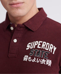 Classic superstate burgundy short sleeve polo
