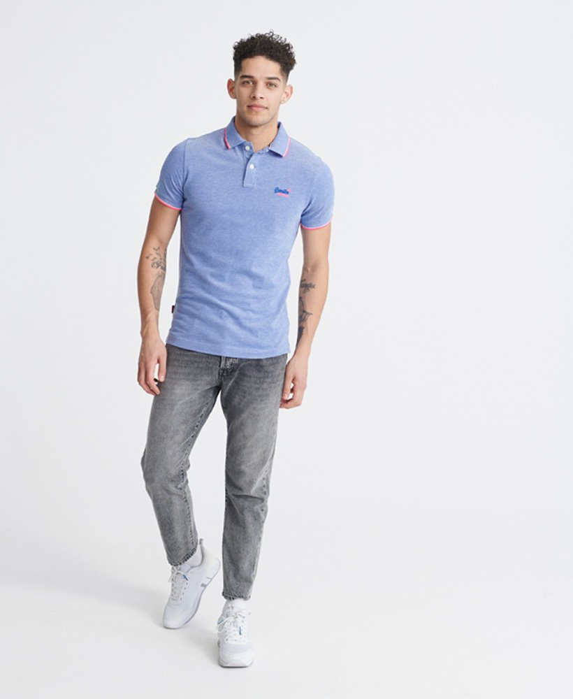 Poolside pique short sleeve cobalt polo by Superdry