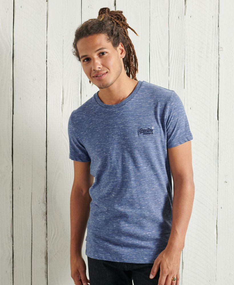 Organic Cotton Vintage Embroidery T-Shirt Tidal Blue