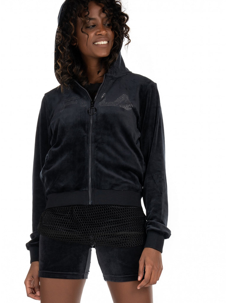 Laurel Diamante Black Zip Hood blk