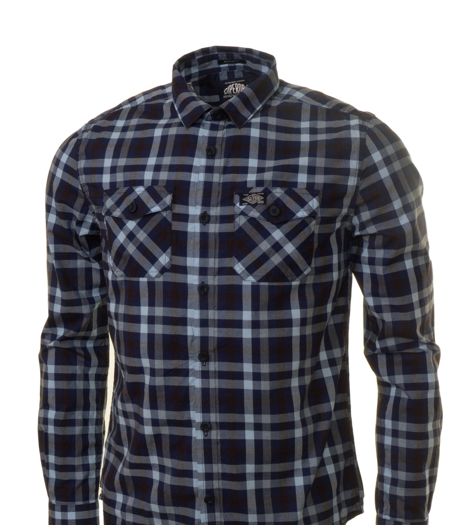 Washbasket L/S New Check Shirt by Superdry