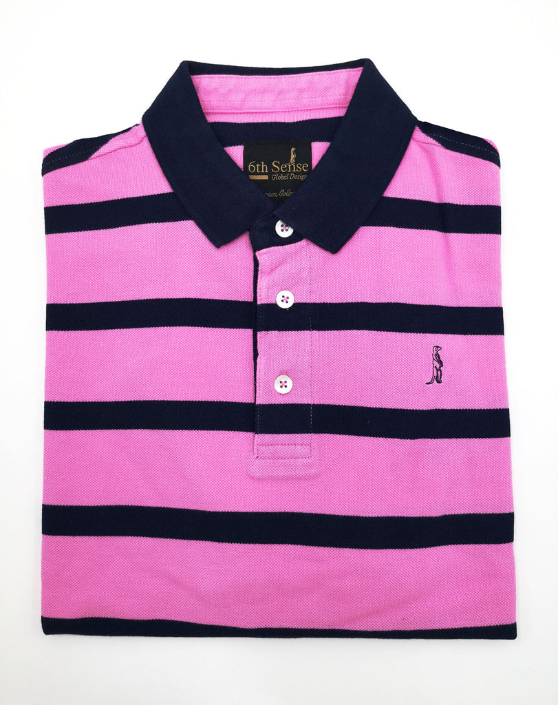 Yacht Stripe Pink & Navy Polo