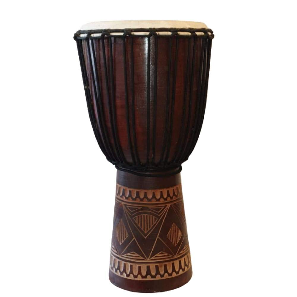 WOODEN DJEMBE DRUMS CARVED 60X27CM PERCUSSION INSTRUMENT