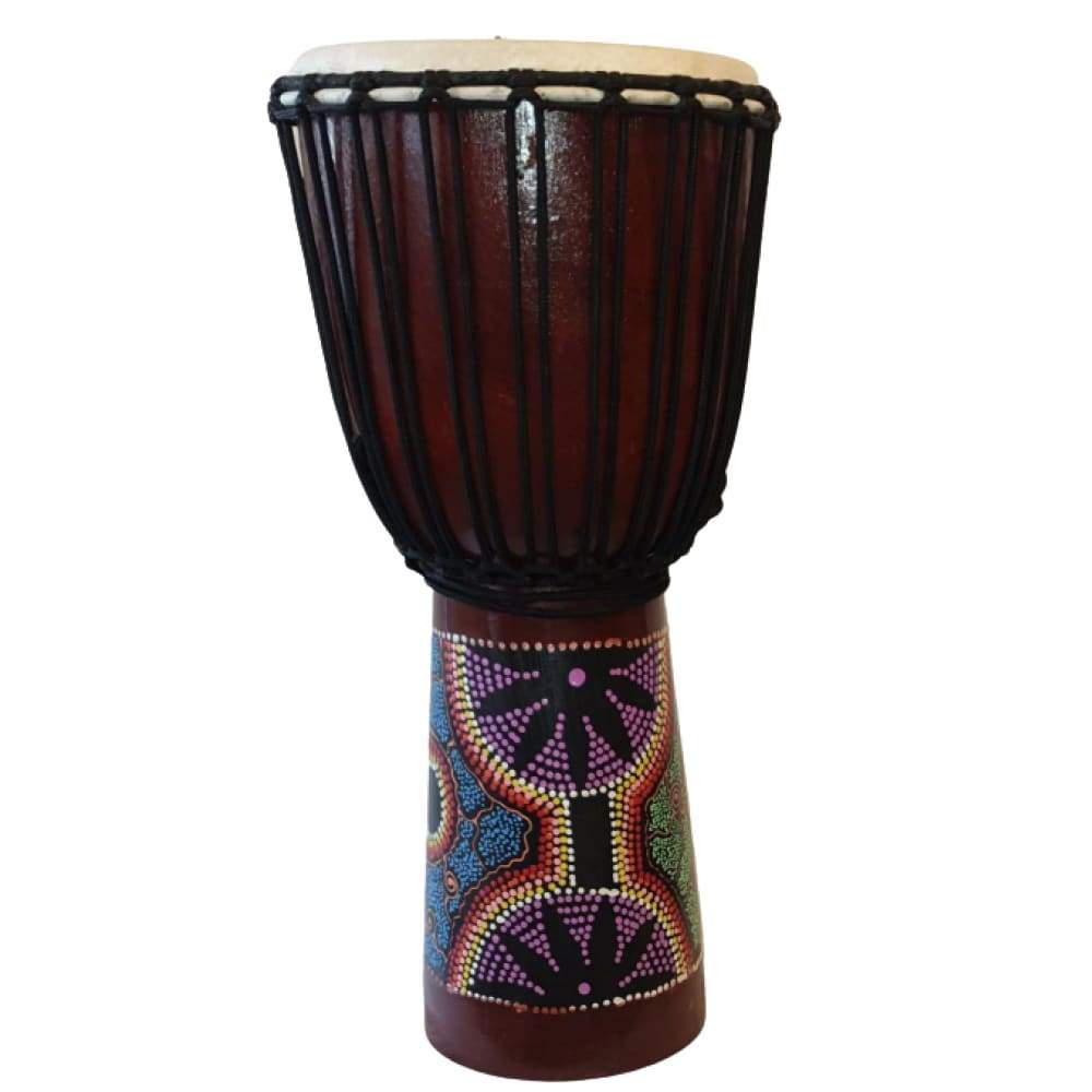 WOODEN DJEMBE DRUMS PAINTED 60X27CM PERCUSSION INSTRUMENT