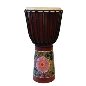 WOODEN DJEMBE - PAINTED 60X27CM. PERCUSSION INSTRUMENT