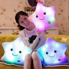 Image of Light Up LED Star Luminous Pillow Children Stuffed Christmas Gift for Kids