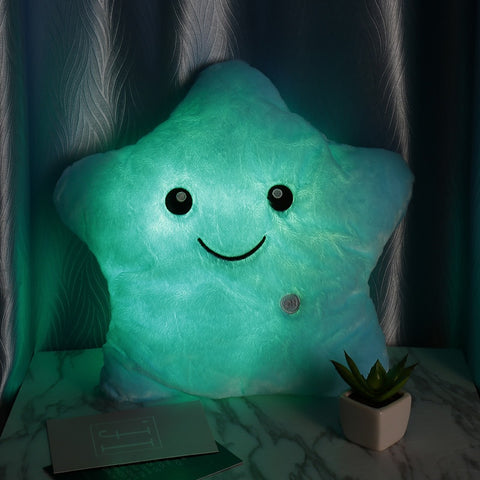 Light Up LED Star Luminous Pillow Children Stuffed Christmas Gift for Kids