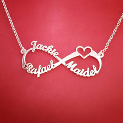 Image of Heart Infinity Necklace 3 Names Sterling Silver