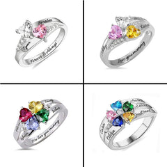 Image of Personalized Heart Birthstone Ring With Engraving Silver