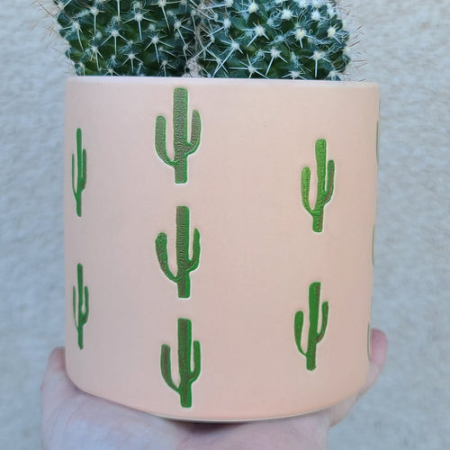 Saguaro motif ceramic planter pot FEBRUARY