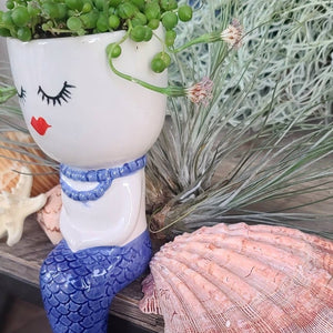 Mermaid Planter pot with string of pearls