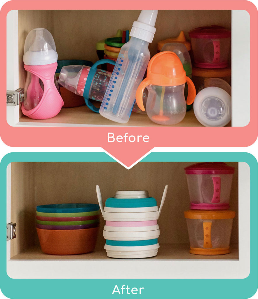 Space Saving, Stackable Baby Bottles and Stackable Sippy Cups that Collapse and Fold Down to Pocket Sized