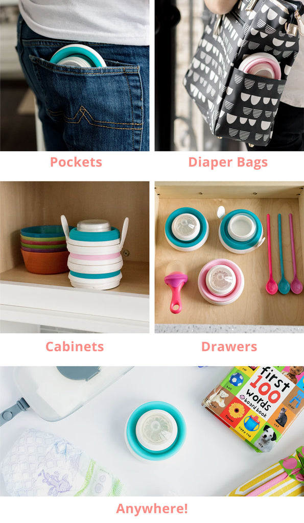 Space-Saving, Collapsible Baby Bottles and Foldable Sippy Cups that are Pocket-Sized, Stackable, Portable, and Compact