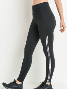 Black workout legging with white piping