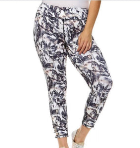 Mono b plus abstract criss cross strap leggings