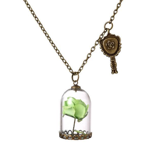 Beauty and the Beast Glass Vial Pendant Necklace