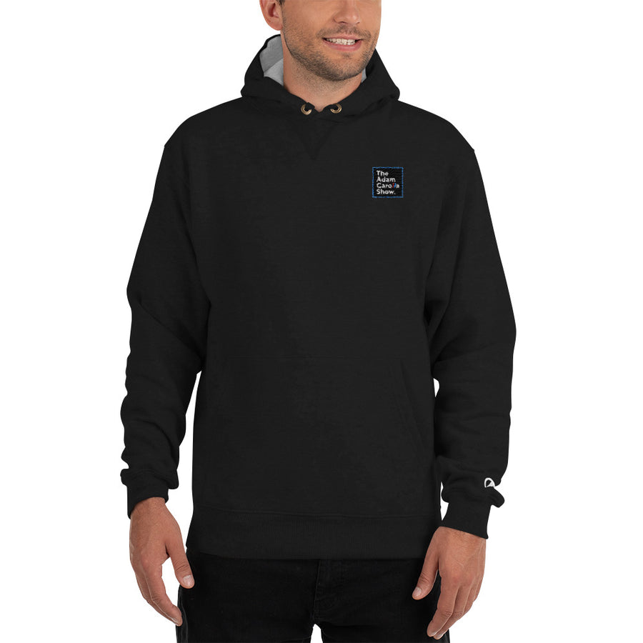 Embroidered Champion Hoodie, The Adam Carolla Show Logo