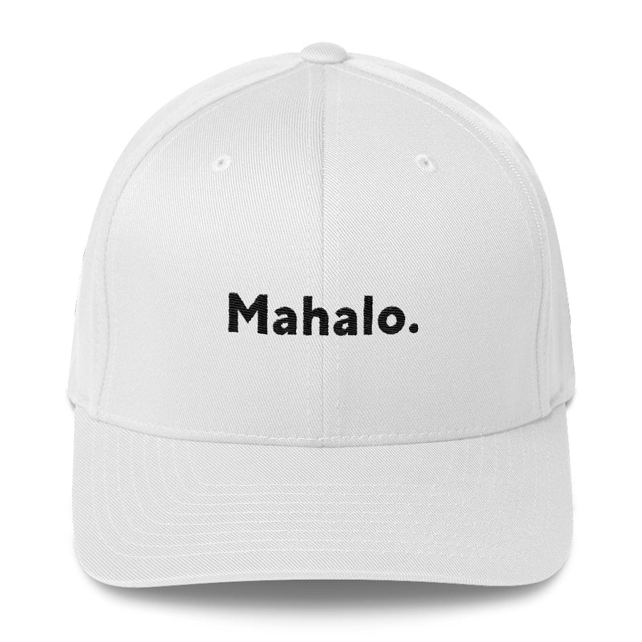 "Flexfit Structured Twill Hat (White), ""Mahalo."" 