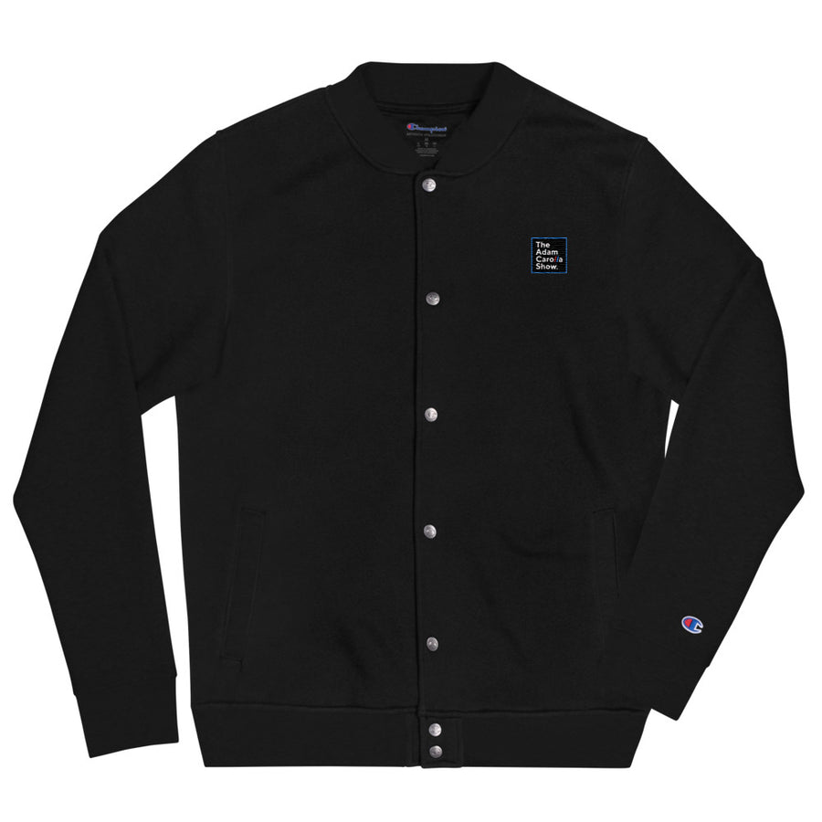 Embroidered Champion Bomber Jacket, The Adam Carolla Show Logo on Front