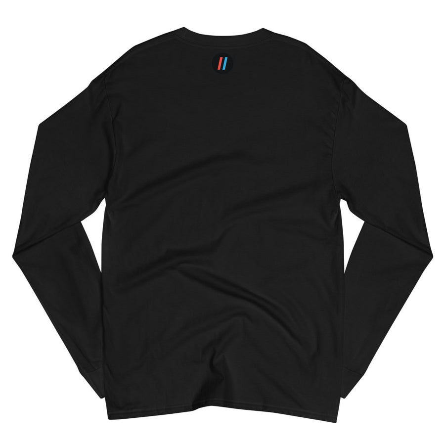 Men's Champion Long Sleeve Shirt, The Adam Carolla Show Logo on Front, Icon on Back
