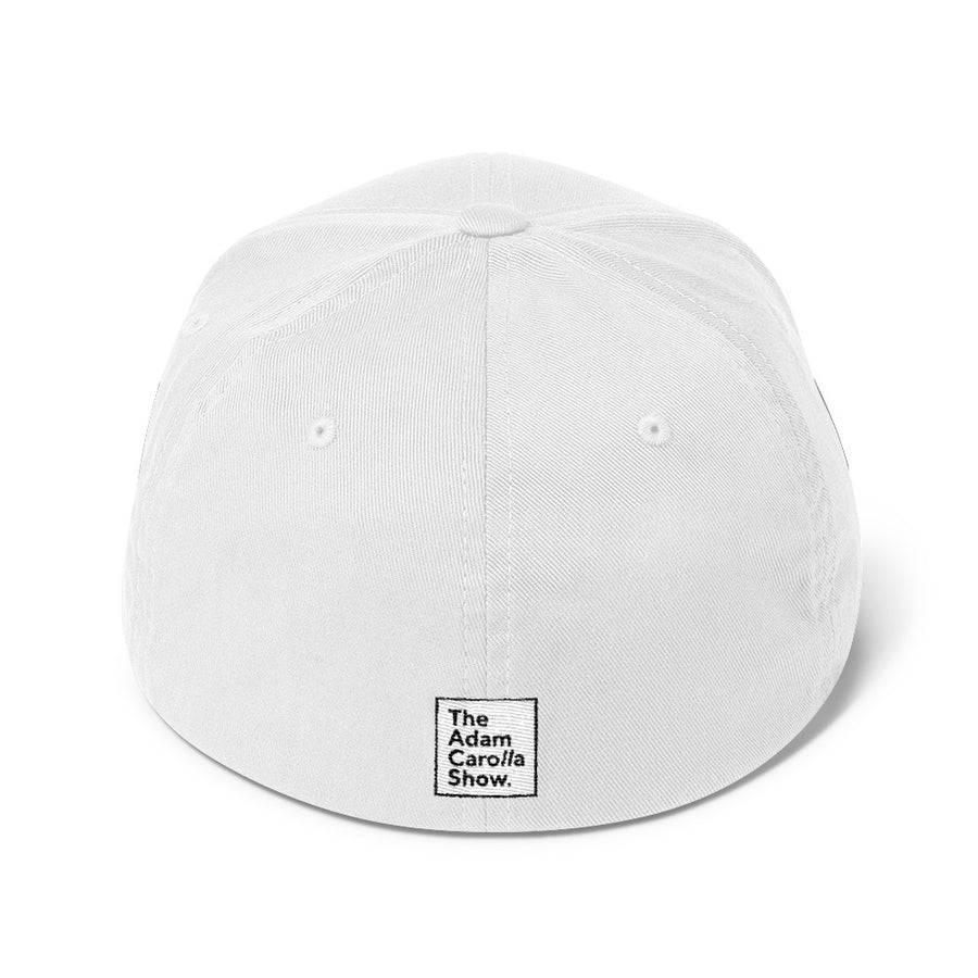 "Flexfit Structured Twill Hat (White), ""Get it on."" 